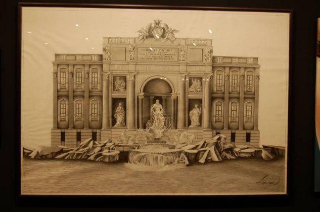 fontana di trevi Grafito Papel Paisaje