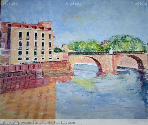 puente viejo Acrílico Lienzo Paisaje