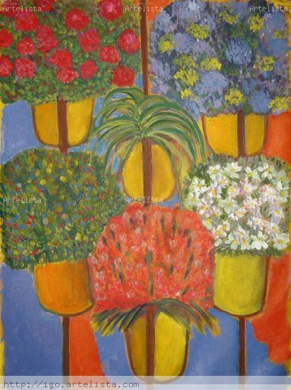 macetas con flores Lienzo Óleo Floral