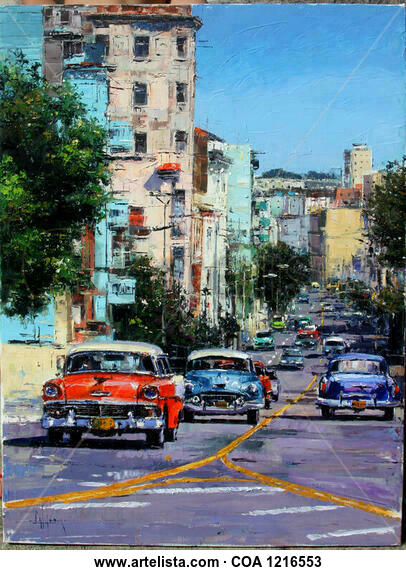 Avenida de la Habana Paisaje Óleo Lienzo