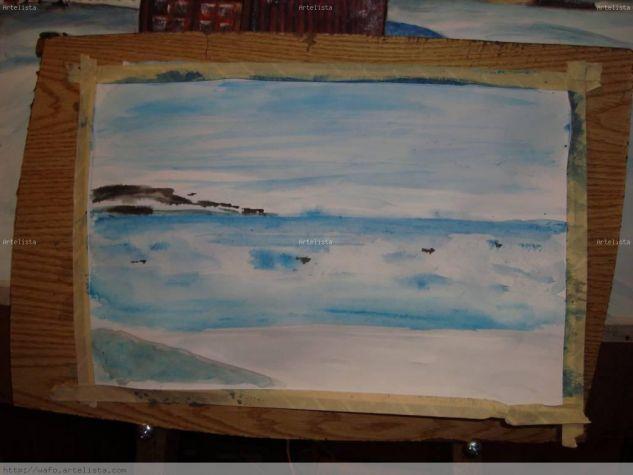 mar congelado Acuarela Papel Paisaje