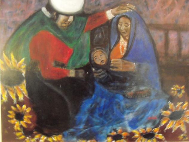 VIRGEN Y NIÑO INDIGENA Canvas Oil Portrait