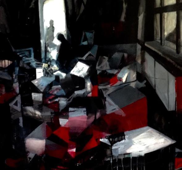 Vista interior del estudio Otros Óleo Lienzo