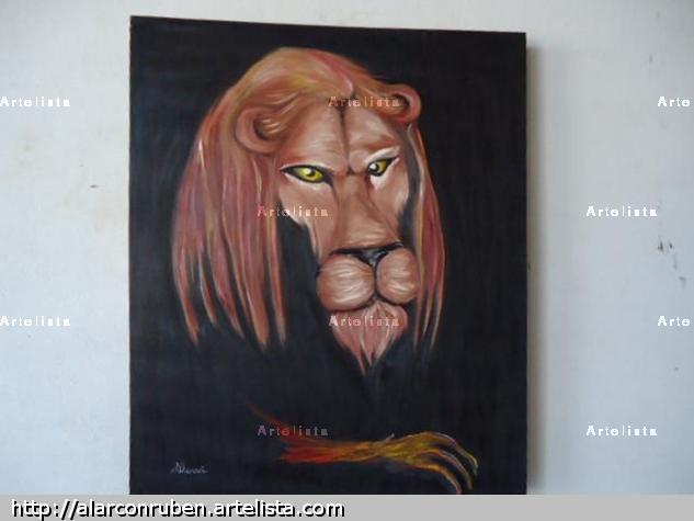 leon Lienzo Óleo Animales