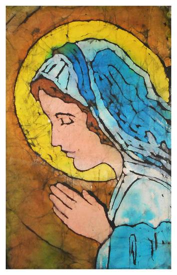 Virgen María Lienzo Cera Figura