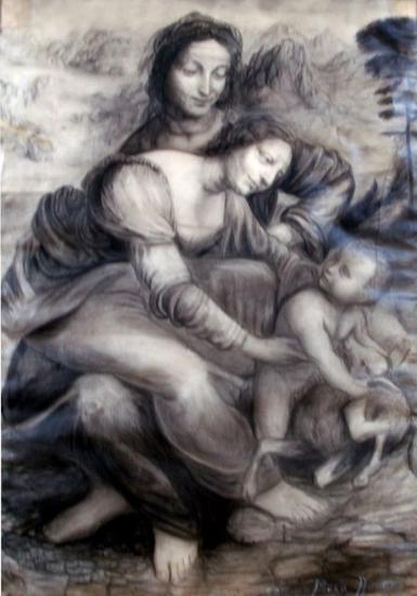 Ana la virgen y el niño Carboncillo