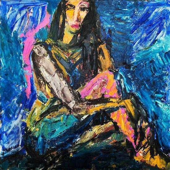 Black-hared Girl. Series Pin-Up Lienzo Óleo Desnudos