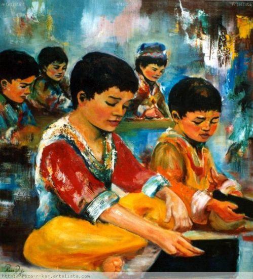 Niños Afganos Óleo Lienzo Otros