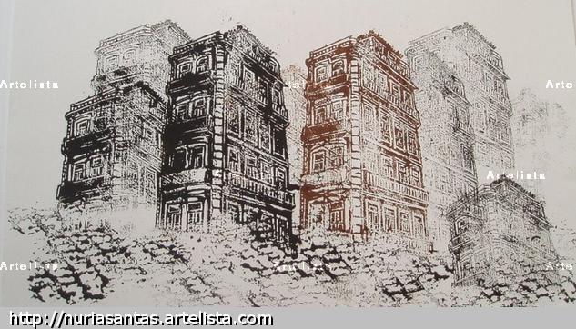 La ciudad Linograbado