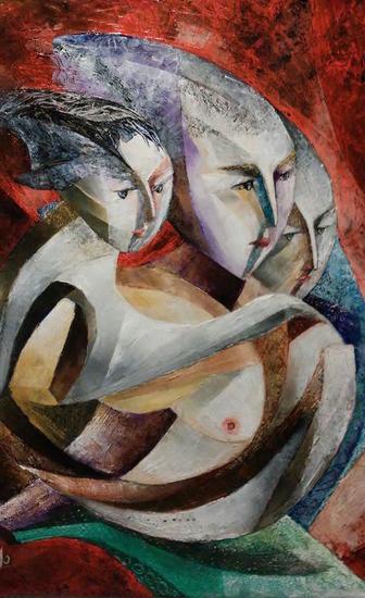 Elisea, Miran y su hijo Héctor Tela Óleo Retrato