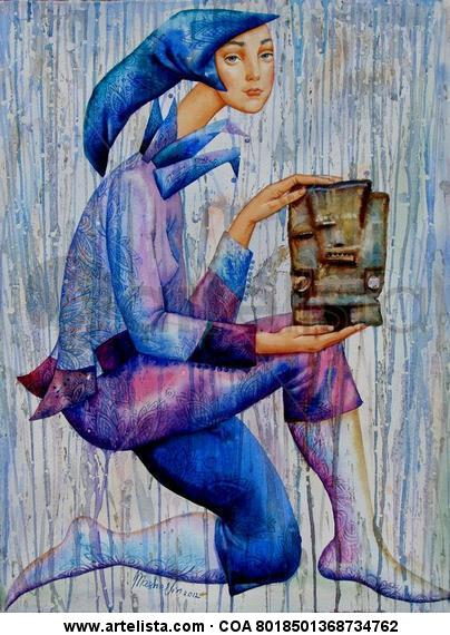 Lluvia de Tlaloc Figura Acuarela Papel