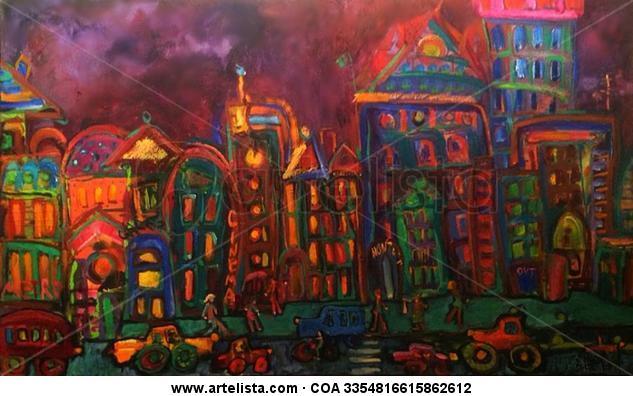 City by Night Lienzo Óleo Otros