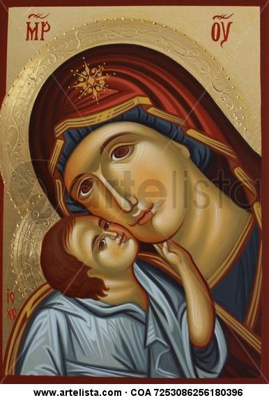 Mother of God / madonna con el nino Otros Gouache Figura