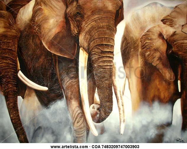 Tons of elephants Lienzo Media Mixta Animales