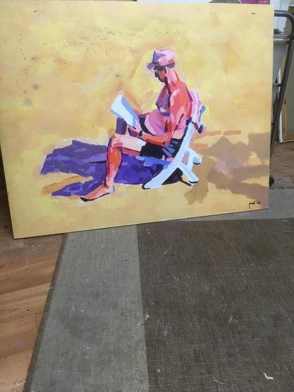 Lectura en la arena Figure Painting Acrylic Panel