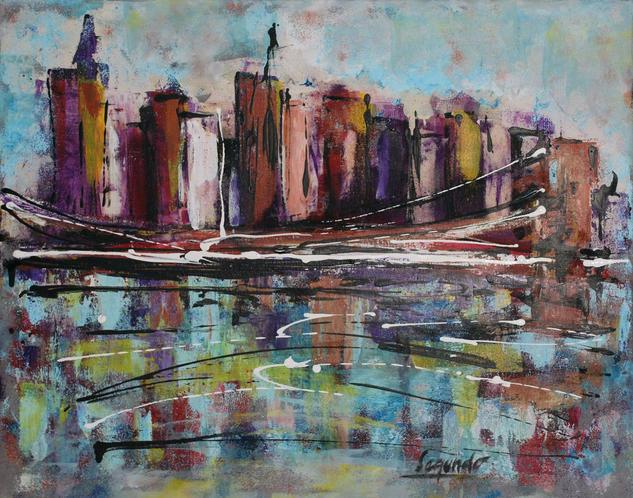 Puente de Brooklyn Landscaping Acrylic Canvas