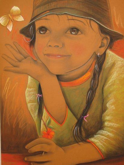MI SOÑADORA Pastel Cartulina Retrato