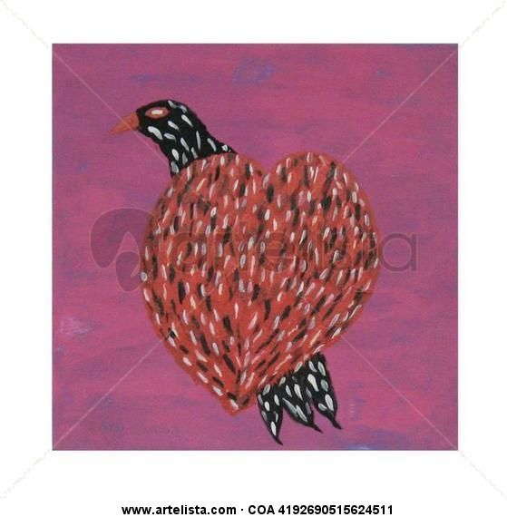 Vuela corazon Animales Tabla Gouache