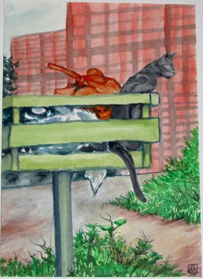 (gato en cesto de basura a modo de mirador) ¡saca tu basura ya! Animales Acuarela Cartulina