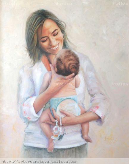 Maternidad Óleo Lienzo Retrato
