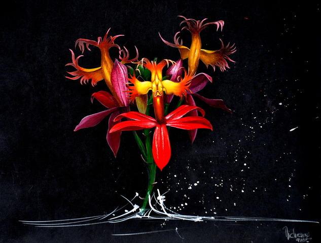 EPIDENDRUM ELLIPTICUM Gouache Floral Papel
