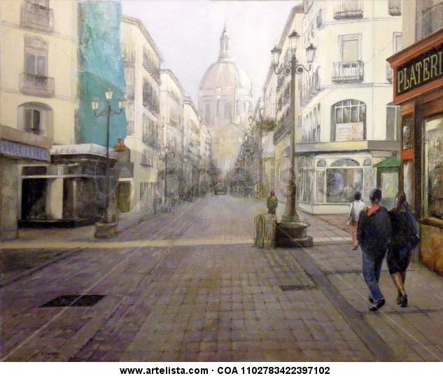 Calle Alfonso I - Zaragoza Lienzo Óleo Paisaje