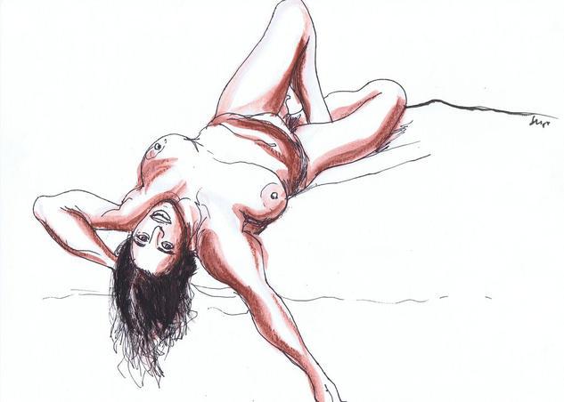 Mujer desnuda recostada con el brazo extendido Mixed Media