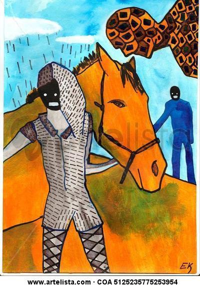 caballo Cartulina Acrílico Animales