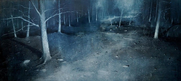 NIGHT FOREST Panel Oil Landscaping