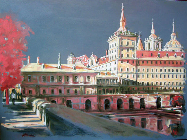 Tardes de El Escorial I. Panel Oil Landscaping