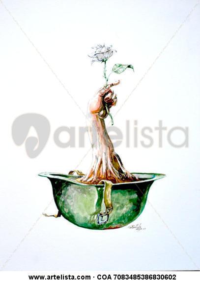Cultivo una rosa blanca. Cartulina Acuarela Bodegones