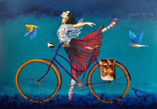 bailarina, aves y bicicleta. Figure Painting Oil Textile