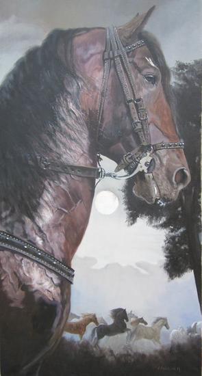 caballo tronador Canvas Oil Animals