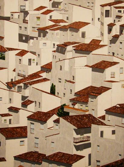 Pueblo blanco Lienzo Acrílico Paisaje