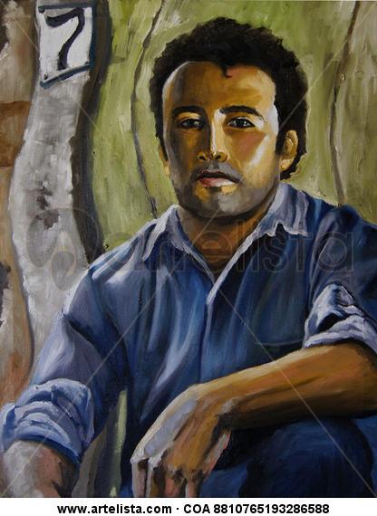 Vivo en el Número 7 Canvas Oil Portrait