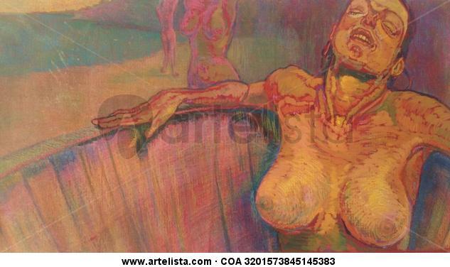 Descanso II Cartulina Acrílico Desnudos