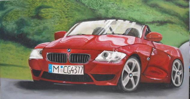 BMW ROJO Lienzo Óleo Figura