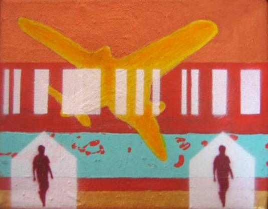 De la serie Quimeras, Encrucijada (ave amarilla). Mixta-lienzo. 19 x 24,5. 2007