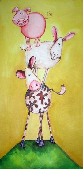 La vaca, la oveja y el cerdo haciendo un Castellet Óleo Lienzo Animales