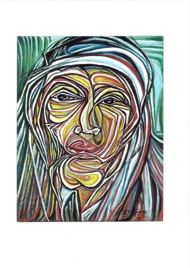 Indio Ranquel  Gouache Retrato Cartulina