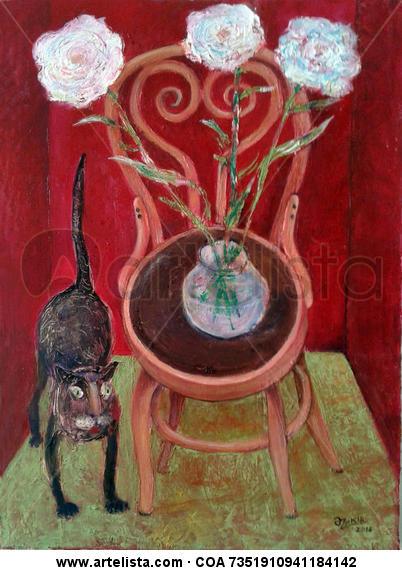 Cat And Flowers Lienzo Óleo Bodegones