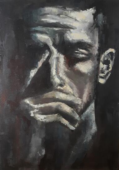Pensador Retrato Óleo Lienzo