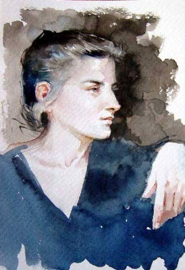 Joana Acuarela Cartulina Retrato