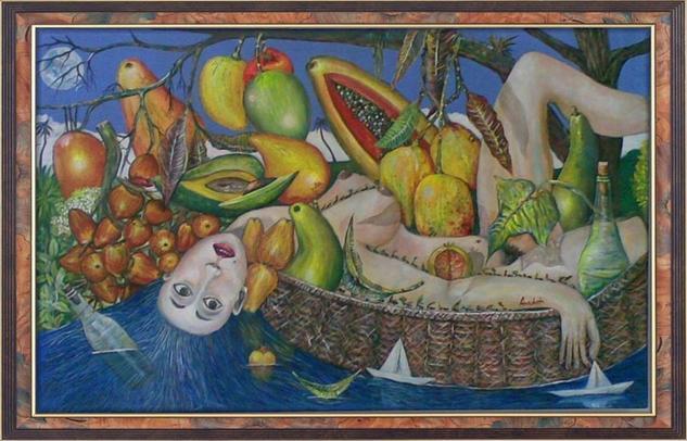 Girl Under the Fruits Lienzo Óleo Desnudos