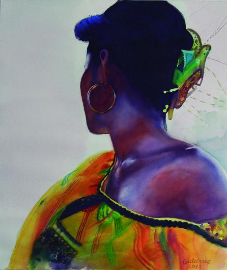 Cumbia Vibrante Papel Acuarela Retrato