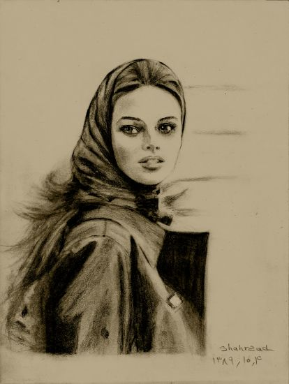 The girl with 'MACINTOSH ' pencil drawing by shahrzad ranji Otros Lápiz (Negro) Retrato