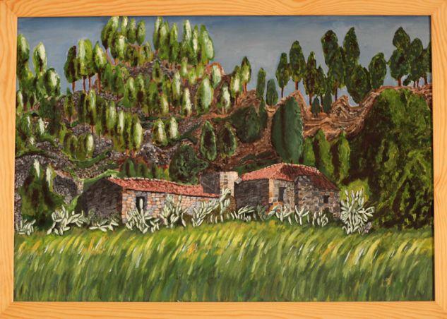 Tijoco casas viejas Lienzo Óleo Paisaje