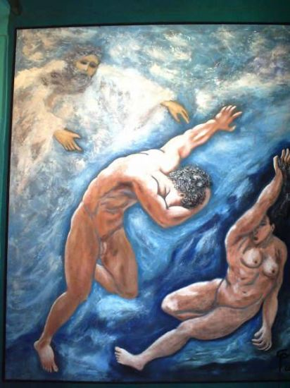 el castigo Acrílico Tela Desnudos