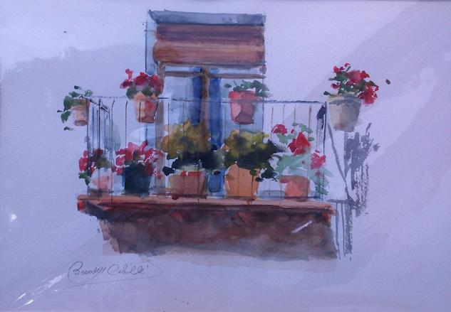 Balcon con flores mercedes bernadell caballe for Balcon in english