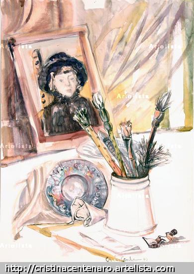 Retrato y pinceles Papel Acuarela Bodegones